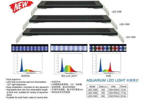 Светильник DOPHIN LED-1088  RGB  (35 - 43 см.), 12.6 W, 12 white+6 red+9 blue